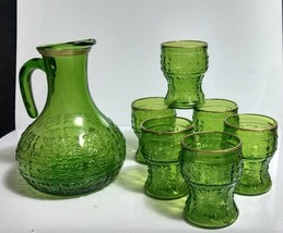 Vtg 7 Pc Green Glass 56 Oz Pitcher Set Made in Italy Embossed Floral Med... - $23.76