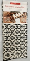 "Kitchen Microfiber Drying Mat (15""x20"") BLACK DAMASK FLOWERS ON WHITE #1... - $13.85"