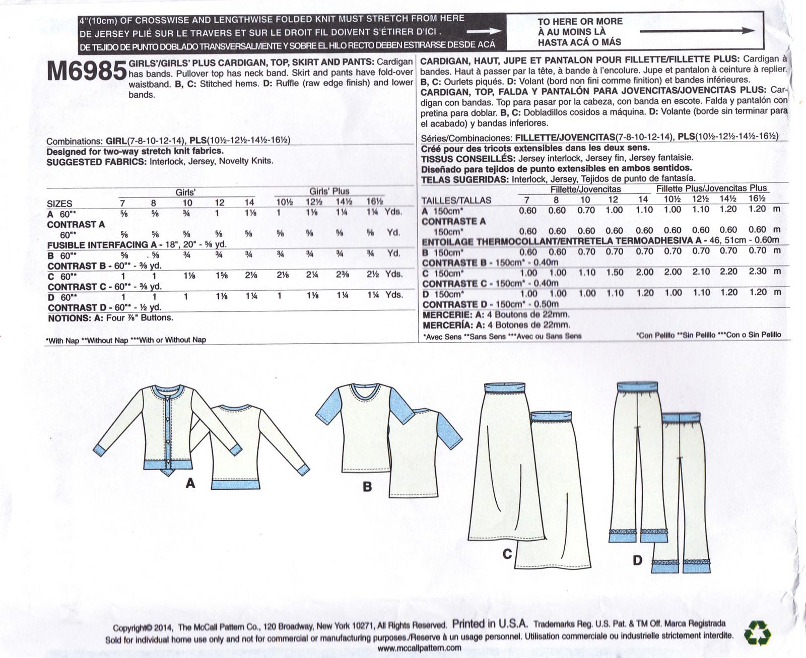 McCall's M6985 Girls Top Skirt Pants Cardigan Sewing Pattern Children Sizes 7-14