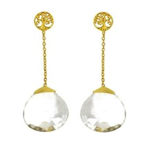 Drop Of Clear Quartz 925 Sterling Silver Stud Earring SHER0260 - $27.78