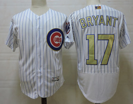 Men's Chicago Cubs #17 Kris Bryant White Gold Pinstripe Flexbase Jersey MLB - $42.00