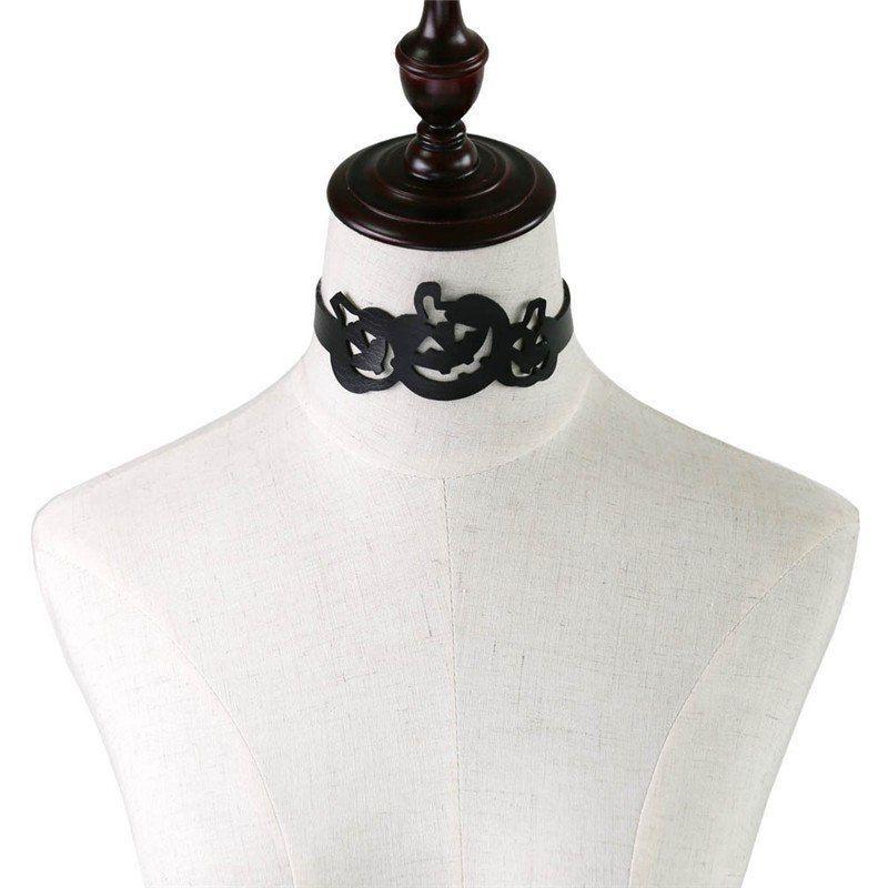 Halloween Pumpkin Jack O Lantern Choker Costume Cosplay Collar Black Necklace