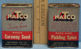 Vintage Lot 2 Spice Metal Containers NaTco National Tea Caraway Pickling... - $12.86