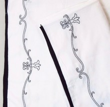 JCPenney Embroidered Floral Scroll Black White 2-PC 80 x 65 Lined Draper... - $41.00