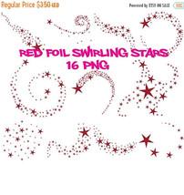 Red foil swirling stars clipart, red foil clipart, stars swirls, red foi... - $3.15