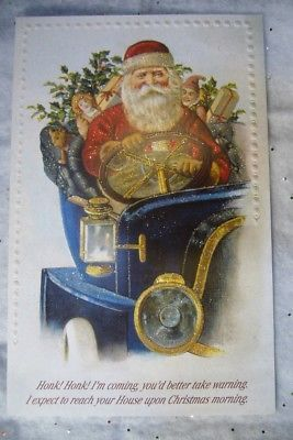 10 Old World Christmas Cards Santa in Auto  new