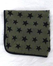 Carters Baby Blanket Boy Navy Blue Olive Army Green Stars Soft 27x27  B284 - $23.52 CAD