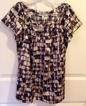 Dressbarn Women's S Brown Beige Abstract Print Scoop Cap Sleeve Tunic Sh... - $11.83