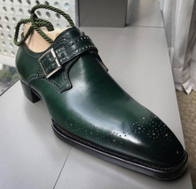 Handmade Men's Heart Medallion Monk Strap Dress/Formal Leather Shoes image 4