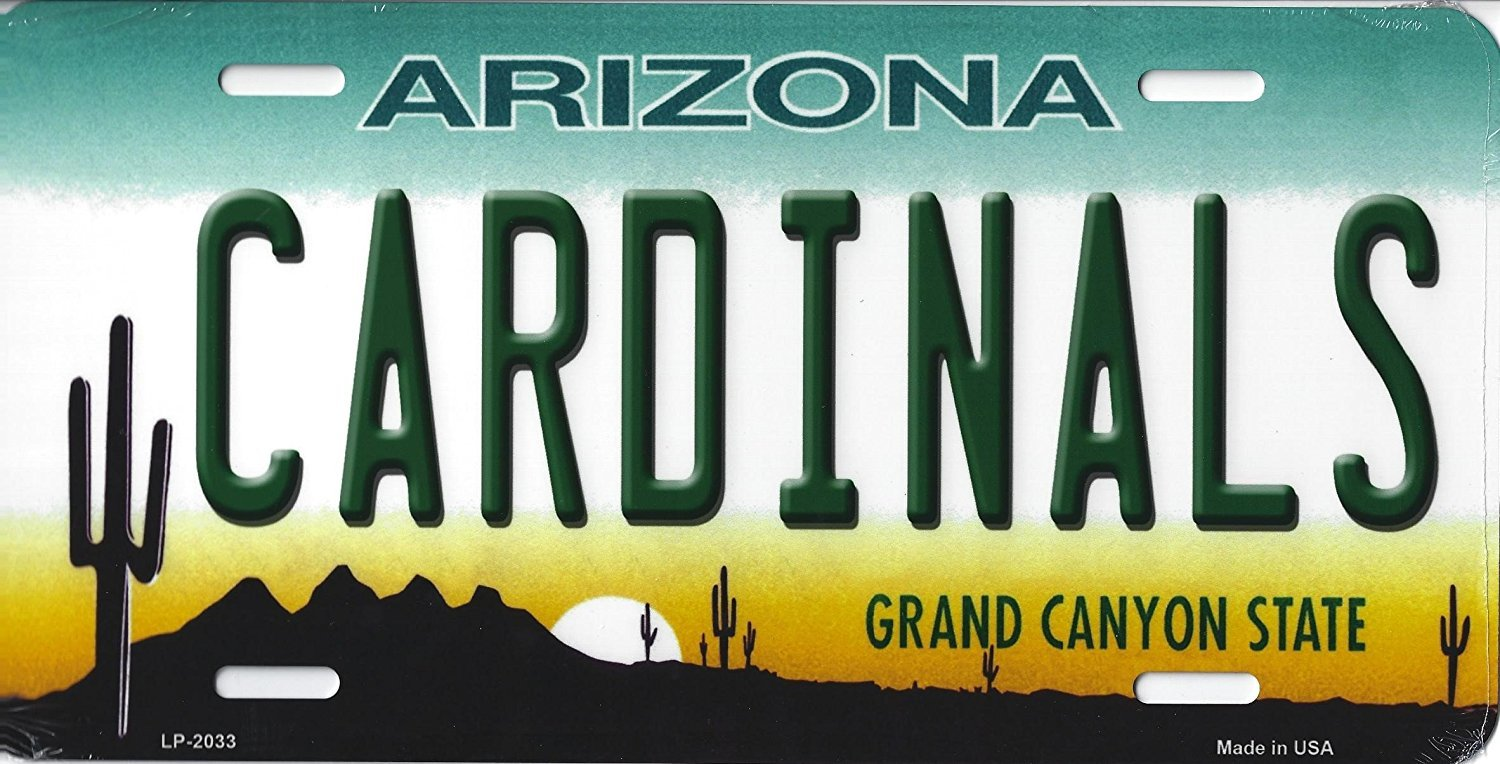 Cardinals Arizona State State Background Metal License Plate Tag (Cardinals)