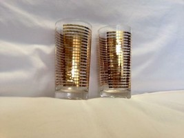 Pair of Midcentury Gold Striped Glasses - $29.00