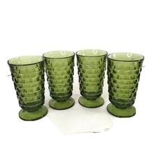 "Set of 4 Indiana Glass Whitehall Green Avocado 6"" Flair Iced Tea Tumbler... - $21.00"