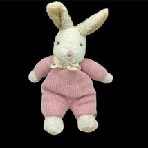 "Vintage Carter's Classics Pink White Bunny Rabbit Plush Rattle 14"" Tall ... - $13.32"