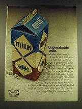 1966 Ex-cell-o Pure-Pak Cartons Ad - Unbreakable milk - $14.99