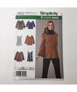 Simplicity 2852 Size 6-14 Misses Knit Tunics Tops - $11.64