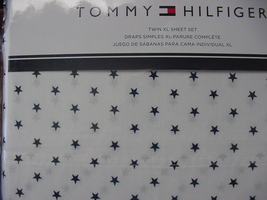 Tommy Hilfiger Navy Stars on White Sheet Set Twin XL - $40.00
