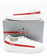 NIB PRADA Vitello Plume Side Stripe White Leather Low-top Sneakers 11.5 New - $377.17