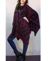 Modadorn Rotated Square Pattern Hooded Cape (BURGUNDY) - $29.69