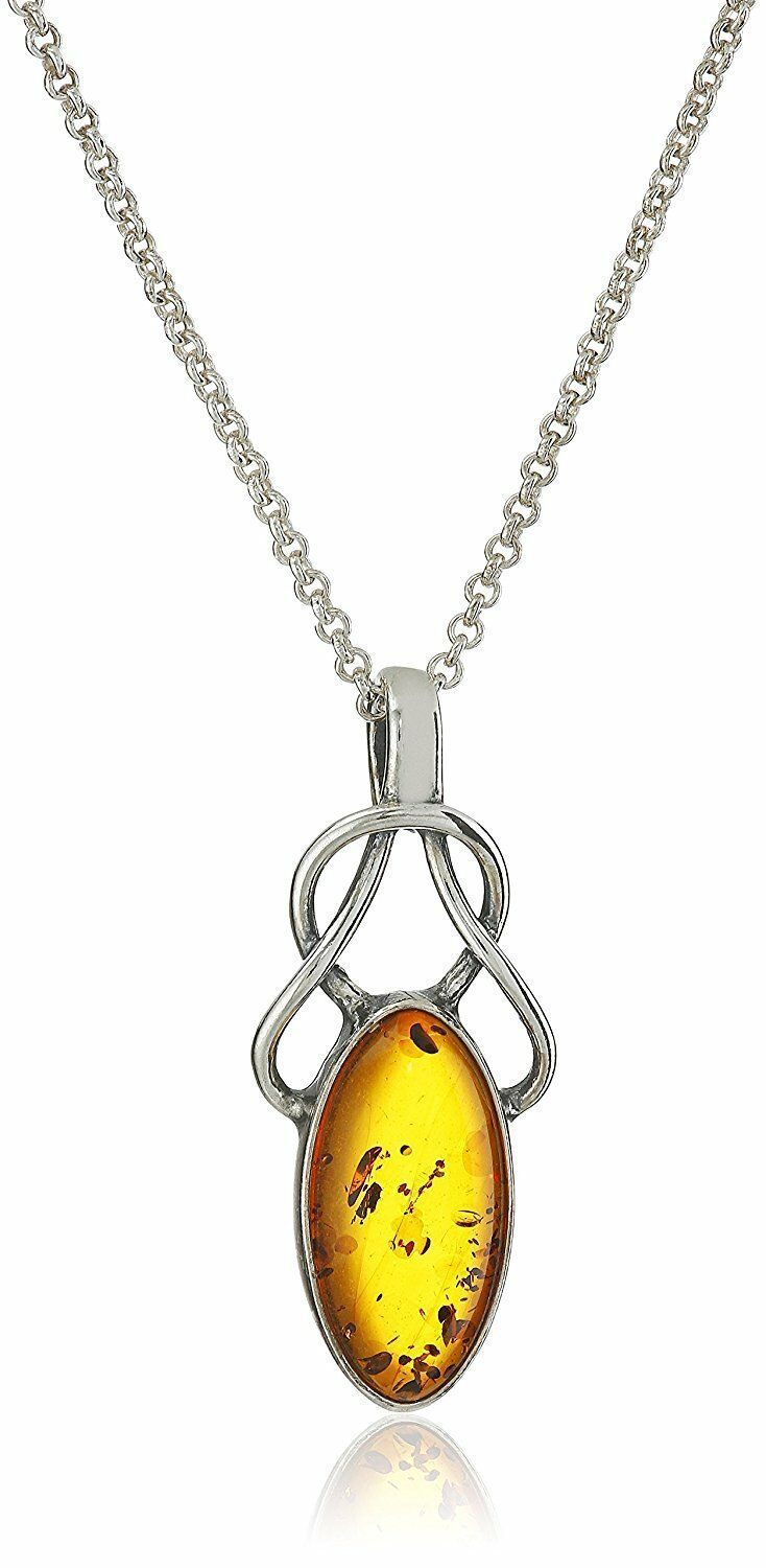 """18"""" Sterling Silver 925 Amber Celtic Design Pendant Necklace New with Tags"""