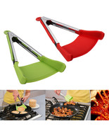 2 in 1  Non-stick Clever Tongs Heat Resistant Silicone Spatula Cooking F... - $14.40