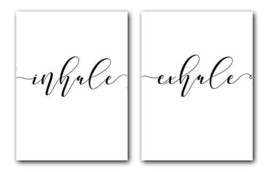 Inhale Exhale, Set of 2 Posters, 18 x 24 Inches, Minimalist Art Typography Art B