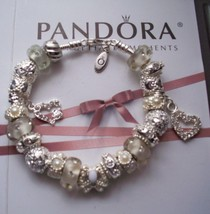 Authentic Pandora Sterling Silver Bracelet Hearts Butterfly Crystals White - $98.18