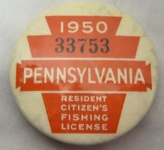 1950 Vintage Pennsylvania Resident Fishing Pin image 1