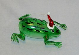 Blown Glass Frog with Santa Hat Christmas Ornament - $13.86