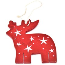 Undugu Society Hand Carved Soapstone Red Reindeer Christmas Holiday Ornament