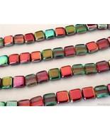 25 6 x 6 x 3 mm CzechMates Two Hole Tile Beads: Coated - Marea Peacock/Gold - $3.00