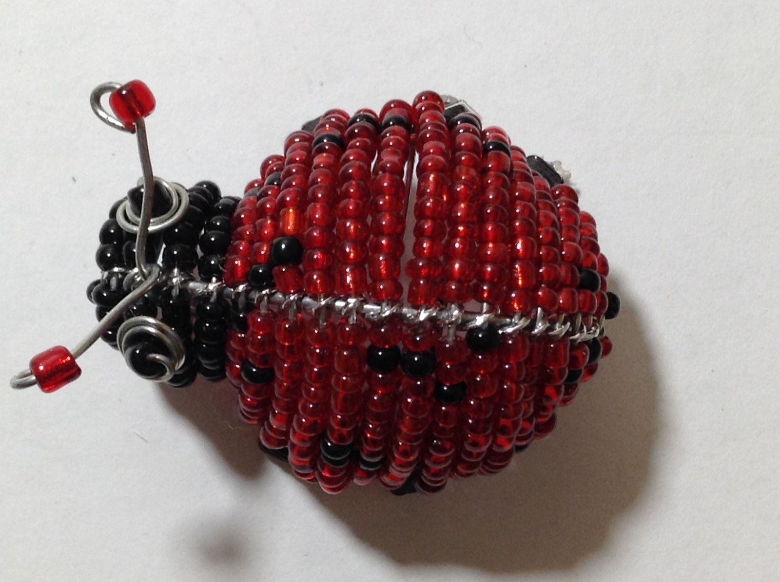 NEW Hand Beaded Red and Black Lady Bug Key Chain