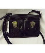 Dana Buchman Maria Crossbody Handbag Black Quilted Patent Faux Leather P... - $24.16