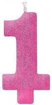 Giant Pink Glitter 1 Candle - First Birthday Cake Topper - $13.77