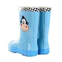 Cute Starry Kids' Rain Boots Blue Monkey Children Rainy Days Shoes 21.1CM