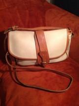DOONEY & BOURKE TAN & BROWN AWL LEATHER EQUESTRIAN SHOULDER BAG FLAP PURSE - $49.49