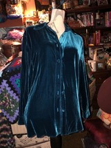 DIANE VON FURSTENBERG Fabulous Lapis Blue Velvet Blouse Size S - $19.80