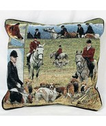 Fox Hunt Equestrian Dog Horses Decorative Throw Canvas Pillow 16 x 16 - $19.00