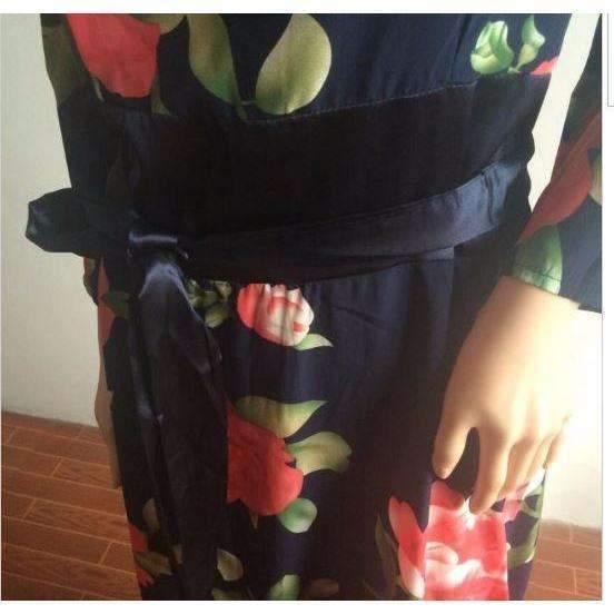 Retro Flower Print Quarter Sleeve Women Maxi Dress