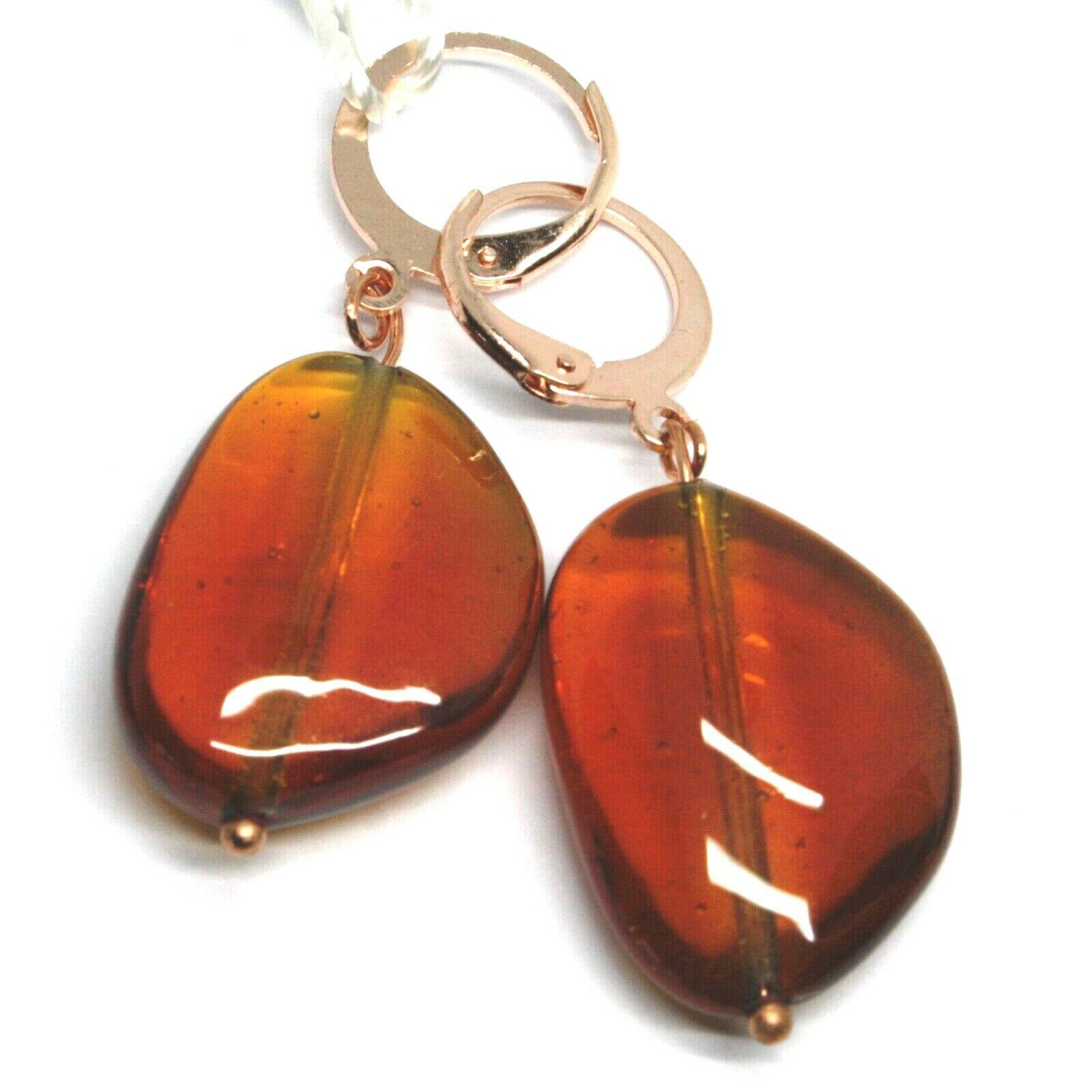 "PENDANT ROSE EARRINGS AMBER ROUNDED DROP MURANO GLASS 4cm 1.6"", MADE IN ITALY"