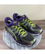 Asics Gel Kayano 21 Purple Neon Green Lace Up Running Shoes Womens Size 7.5 - $39.95
