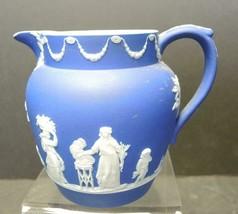 "Vintage 4 ¼"" Tall Wedgwood Jasperware Cobalt Blue Dip Pitcher/Jug - $33.24"