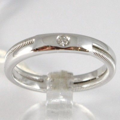 WHITE GOLD RING 750 18K, FAITH ENGAGEMENT WITH DIAMOND CT 0.03, DOUBLE THREADED