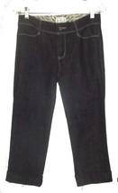 White House Black Market Blanc Dark Blue Denim Capri Jeans with Cuffs Sz 4 - $28.49