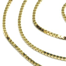 """SOLID 18K YELLOW GOLD CHAIN 1.1 MM VENETIAN SQUARE BOX 15.75"""", 40 cm, ITALY MADE image 2"""