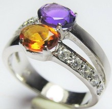 925 Sterling Silver Two Gemstone Ring Amethyst and Citrine - $37.99