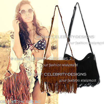 Primary image for ac36B Celeb Style Vintage Hippie Boho Suede-like Fringed Shoulder Bag in Black