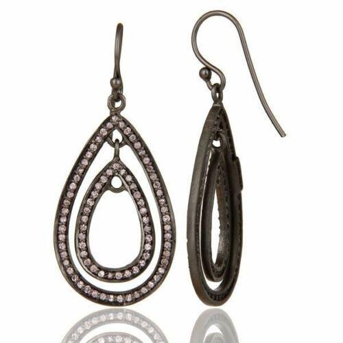 Natural Pink Zircon Black Oxidized 925 Sterling Silver Dangle Earrings Jewelry