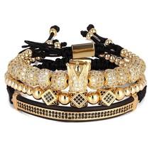 3pcs/Set Punk CZ Micro Pave Crown Beads Bracelet For Men Women Braided Rope Chai - $37.55