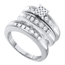 10k White Gold His & Her Round Diamond Cluster Matching Bridal Wedding Ring Set - $1,098.00