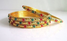 Indian Traditional Gold Tone 4 PS Bangles Set Women's Wedding Ethnic Jewelry 2.6 - $9.89